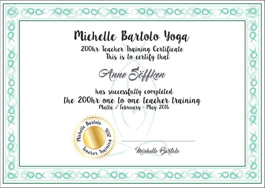 Teacher training certificate